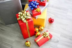 Christmas gift boxes with decorations,Christmastime celebration. And Happy new year royalty free stock images