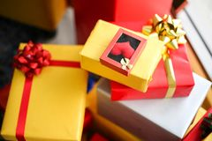 Christmas gift boxes with decorations,Christmastime celebration. And Happy new year stock image