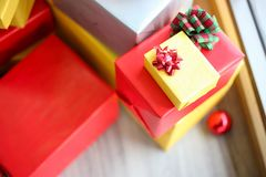 Christmas gift boxes with decorations,Christmastime celebration. And Happy new year stock photography