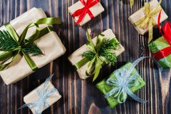 Christmas gift boxes with decorations and fir royalty free stock images