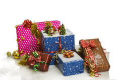 Christmas gift boxes and decorations Stock Images