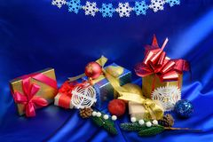Christmas gift boxes and decorations stock photos