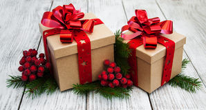 Christmas gift boxes and decorations Royalty Free Stock Photography