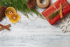 Christmas gift boxes and decorations, top view stock photography
