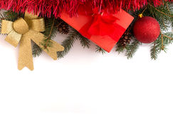 Christmas gift boxes with decorations on white background Stock Photo