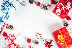 Christmas gift boxes and decorations Stock Image