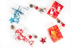 Christmas gift boxes and decorations Stock Photography