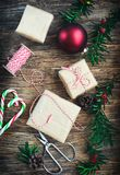 Christmas gift boxes, preparation for the holiday. Royalty Free Stock Photography