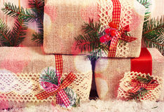 Christmas gift boxes fir branches for new year on Royalty Free Stock Photo