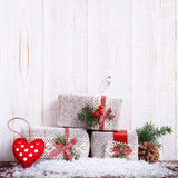 Christmas gift boxes fir branches for new year on stock photography