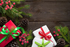 Christmas gift boxes and fir tree branch Stock Image