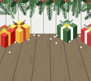 Christmas gift boxes on the floor. Background Royalty Free Stock Images