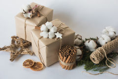 Christmas gift boxes with flowers and decorative objects Eco cotton, cinnamon, spruce branches and jute rope hank over white backg. Round stock photography