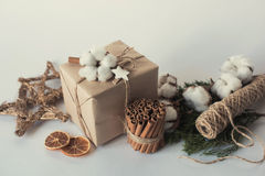 Christmas gift boxes with flowers and decorative objects Eco cotton, cinnamon, spruce branches and jute rope hank over white backg Royalty Free Stock Photo