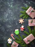 Christmas gift boxes and gingerbread cookies Stock Photo