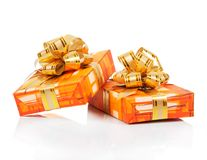 Christmas gift boxes with gold ribbon Stock Photography