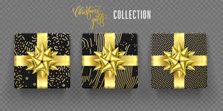 Christmas gift box golden bow ribbon vector New Year wrapper pattern. Christmas gift boxes with golden ribbon bow and gold wrapping pattern. Vector isolated Stock Image