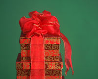 Christmas gift boxes on a green background Stock Image