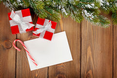 Christmas gift boxes and greeting card Royalty Free Stock Images