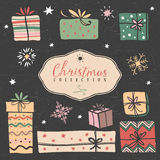 Christmas gift boxes. Hand drawn illustration. Design elements Royalty Free Stock Image