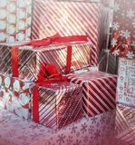 Christmas gift boxes holiday background decor royalty free stock photo