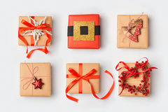 Christmas gift boxes with homemade creative wrapping.View from above. Royalty Free Stock Photos