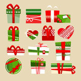 Christmas gift boxes icons set for holidays. Royalty Free Stock Images