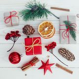 Christmas gift boxes illustration. Flat lay Royalty Free Stock Images