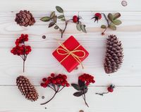 Christmas gift boxes illustration. Flat lay Royalty Free Stock Image