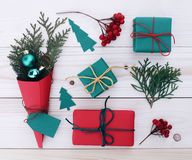 Christmas gift boxes illustration Royalty Free Stock Images