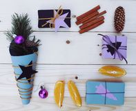 Christmas gift boxes illustration Stock Image