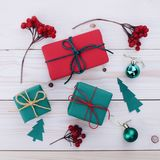 Christmas gift boxes illustration Royalty Free Stock Image