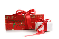 Christmas gift boxes isolated on white Royalty Free Stock Photo