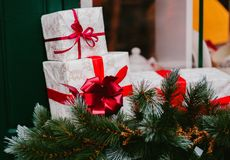 Christmas gift boxes laid out in the shape of a Christmas tree, overhead view royalty free stock image