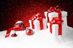 Christmas gift boxes with a large red bow Royalty Free Stock Photography