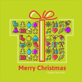 Christmas gift boxes made from icon. Christmas gift boxes made from box. Christmas background vector illustration Stock Photo