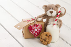 Christmas gift boxes and milk for Santa Royalty Free Stock Photos