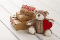 Christmas gift boxes and milk for Santa Royalty Free Stock Photo