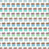 Christmas gift boxes pattern. Celebration repeating vector background. Wrapping paper. Stock Image