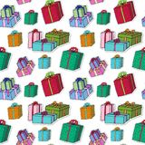 Christmas gift boxes pattern. Celebration Seamless vector background. Wrapping paper. Stock Images