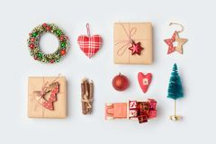 Christmas gift boxes, pine tree and decorations Stock Image