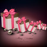 Christmas gift boxes. Stock Photo