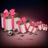 Christmas gift boxes. Christmas gift boxes with pink ribbons over dark background. Vector illustration Stock Photo