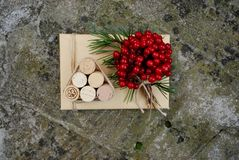 Christmas gift boxes presents scene with pine tree, deer and xmas decorations Royalty Free Stock Image