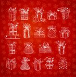 Christmas gift boxes on red background with snowflakes. Doodle sketch vector illustration. Christmas gift boxes on red background with snowflakes. Doodle sketch Stock Images