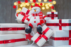 Christmas gift boxes with red ribbon bows Royalty Free Stock Image
