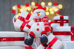 Christmas gift boxes with red ribbon bows Royalty Free Stock Photography