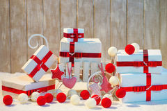 Christmas gift boxes with red ribbon bows Stock Photos
