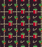 Christmas, Gift boxes on seamless pattern. Gift boxes, evergreen hollie and sweets on seamless pattern, vector illustration Royalty Free Stock Photos