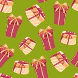 Christmas gift boxes seamless pattern. Round and rectangular boxes with red and gold ribbons and bows. Green background. Vector illustration Royalty Free Stock Images